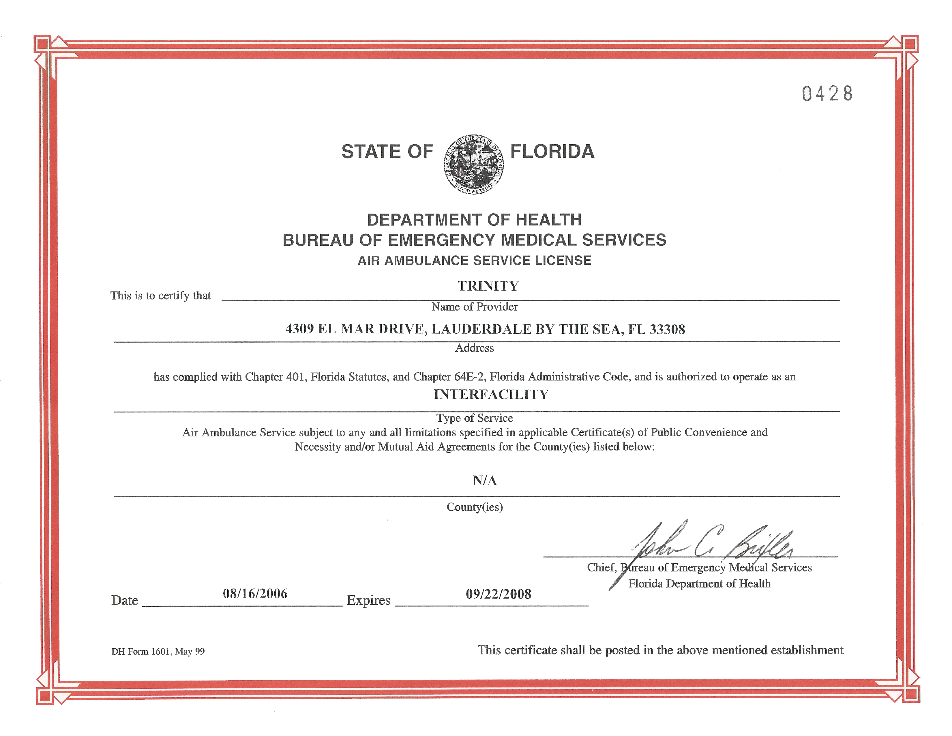 Florida state department of health air ambulance trinity air